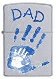 Zippo Dad Handabdrücke Winddicht Feuerzeug–Satin Chrome
