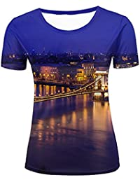 SHENMAHU Hombre Casual Design 3D Printed Night, Beautiful Bridge Across The Sea Short Sleeve Summer