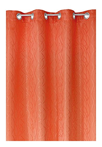 Schlaufen oder Ösenschal - Vorhang-Gardine Maßanfertigung im Streifendesign Terrakotta 200cm x 220cm Ösenschal , Farbe und Größe wählbar
