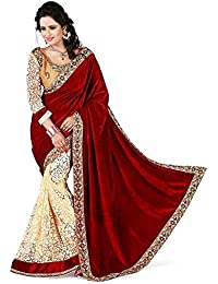 Dhyey Fashion Velvet Saree (Maroon Velvet Saree 4555_Maroon_Free Size)