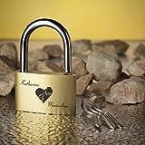 Liebesschloss Vorhängeschloss GOLD inkl. Gravur Motiv Herz mit Glück -
