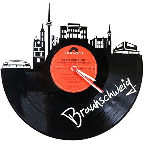 GRAVURZEILE Wanduhr aus Vinyl Schallplattenuhr Skyline Braunschweig Upcycling Design Uhr Wand-Deko Vintage-Uhr Wand-Dekoration Retro-Uhr Made in Germany