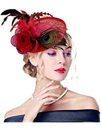 Amazon.it  accessori capelli donna cerimonia - Rosso   Cappelli e ... 627e27cf74ec
