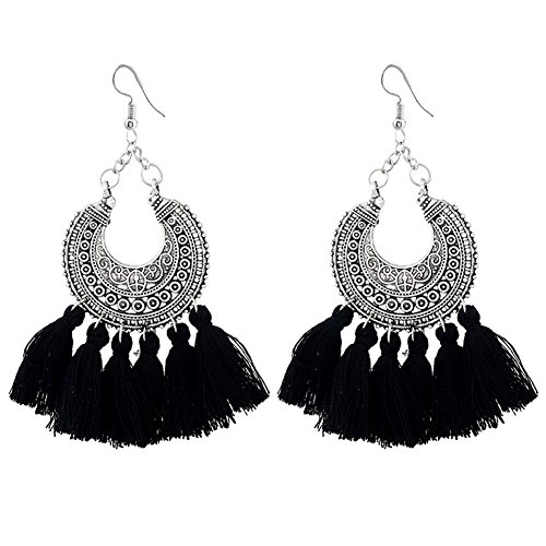 Frauen Bohemia Tassels Dangle Earrings Hollow Fan Shaped Drop Ethnic Stud Earrings Schmuck