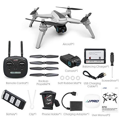 HappySDH Drohne mit Kamera 2K HD,JJR/C JJPRO X5 EPIK Brushless Motor 5G FPV RC Quadrocopter Drohne Kinder mit One Key Start/Landung,Headless Modus,Pocket Drohne für Anfänge (Silber) Pocket Navigator Video