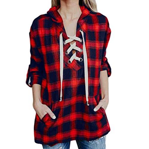 Kolylong Sweatshirt Damen Frauen Elegant V-Ausschnitt Plaid Sweatshirt mit Kapuze Vintage Karierte Shirt Lässige Kapuzenpullover Langarmshirt Jumper Pulli T-Shirt Tunika Tops (Rot, L) (Bustier Plaid)