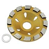 Aussel 4-Zoll-Diamant-Schleif-Schalen-Rad Turbo Cup-Scheibenmahlwerk für Granit Marmor Beton (Gelb 02)