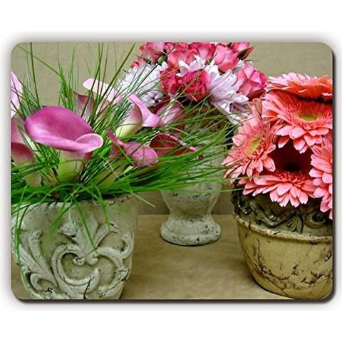 high quality mouse pad,calla lilies roses gerberas flowers vases bouquets,Game Office MousePad size:260x210x3mm(10.2x 8.2inch)