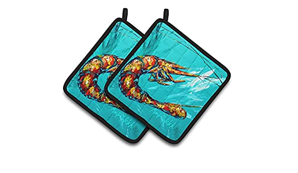 Multicolor Carolines Treasures Shrimp Teal Shrimp Pair of Pot Holders MW1100PTHD 7.5HX7.5W