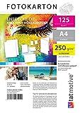 TATMOTIVE F01G 125 Blatt Fotopapier Fotokarton für Laserdrucker | DIN A4 / Beidseitig / 250g / Glänzend