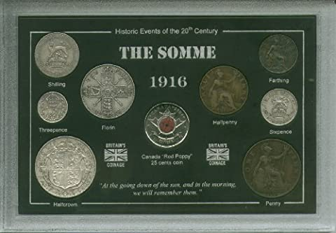 1916 Battle of the Somme WWI World War One The Great War Poppy Antique Coin Display Gift Set (Veteran Remembrance Day Present)