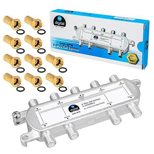 HB-DIGITAL SAT - BK - UKW - Verteiler 8-Fach Splitter (8-Wege) ✨ 5-2400 MHz | digital & analog - tauglich | voll geschirmt | SAT DVB-S DVB-S2 FM UKW Kabelfernsehen DVB-C inkl. 10 F-Stecker