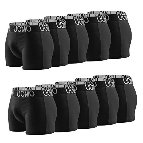 10er Pack L&K Herren Retroshorts Boxershorts Baumwolle schwarze Unterhose 1116 3XL