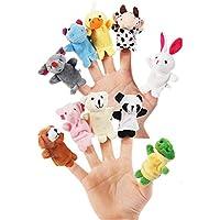 Etelux 10 Pcs doigt de marionnettes enfants animaux jouets mis ensemble apprendre à jouer
