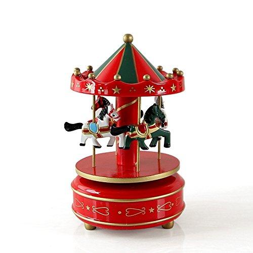 Zantec Holz 4Pferd Drehkarussell Figur Musik Box Kinder Geburtstag Weihnachten Geschenke - Katzen Halloween Pinterest