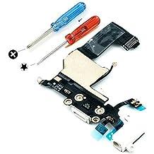 Conector Dock para Iphone 5 Blanco de repuesto Puerto USB, Cable Flex, Micrófono, Audiojack, Antena y botón de inicio instalado, incl. 2 x destornilladores. MMOBIEL