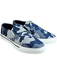 Tycos Blue Canvas Slip On Shoes For Men & Boys