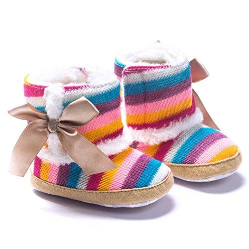 FEITONG Baby Regenbogen weiche Sohle Schnee Aufladungen weiche Krippe schuhe Kleinkind Aufladungen (0 ~ 6 Monat, Mehrfarbig) Mehrfarbig
