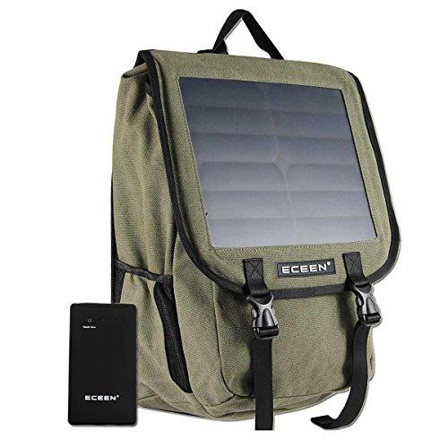 Eceen 10Watt solare zaino, tracolla in tela, borsa, caricatore a energia solare con 10,000mAh Power Battery Pack per cellulari, tablet, fotocamere digitali e altri dispositivi 5V dispositivo.