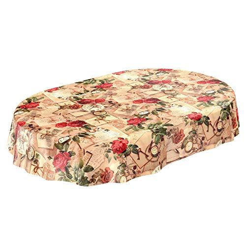 Anro - tovaglia in tela cerata, motivo con rose, plastica, bordo di taglio., oval 140 x 180cm