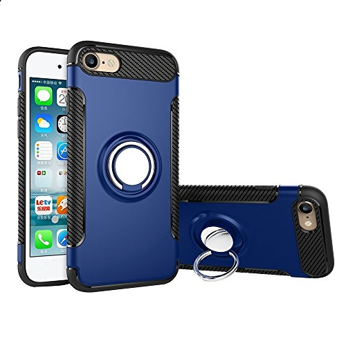 Pour iPhone 7 Phone Ring Armor TPU + PC 360 degrés Rotation magnétique Phone Ring Stent Combination Case JING ( Color : Blue ) Blue