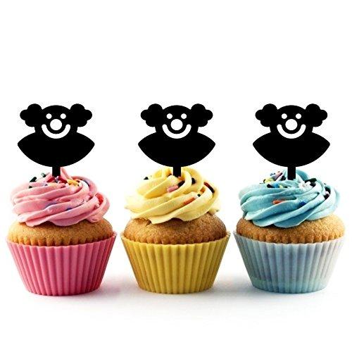 Innovedesire Bozo Circus Carnival Kuchenaufsätze Hochzeit Geburtsta Acryl Dekor Cupcake Kuchen Topper Stand für Kuchen Party Dekoration 10 Stück