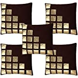Freely Coffee Color Gold Leather Patches Cushion Cover (16 * 16 inches) - Pack of 5
