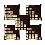Freely Coffee Color Gold Leather Patches Cushion Cover (16*16 Inches) - Pack of 5