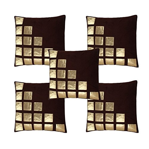 Freely Coffee Color Gold Leather Patches Cushion Cover (16*16 Inches) - Pack...