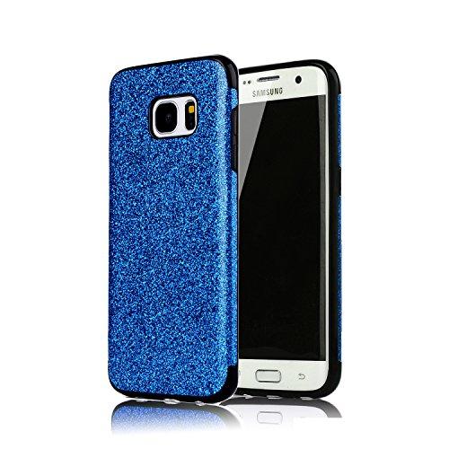 Sycode Glitzer Schutzhülle für Galaxy S6,Luxus Glänzend Weich TPU Silicone Strass Rückseite Hülle für Samsung Galaxy S6-Blau