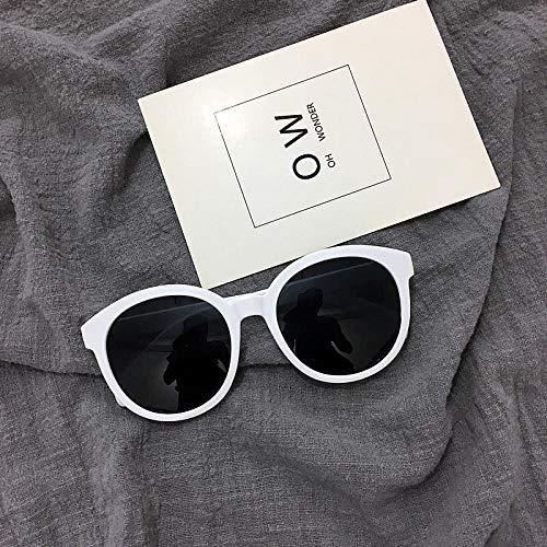 CYCY Sonnenbrille weiblich Retro runder Rahmen Sonnenbrille Reis weißer Rand Gesicht Reparatur Gelee Puder Gläser reinweiß, reinweiß