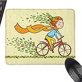 ACATCONDY Simpatico Mouse Pad Bicicletta, Ragazza in Sella a Una Bicicletta in Campagna Autunno Natura Foglie Colorate Che volano nel Vento, Pad Multicolor per Mouse 9,8 x 11,8 Pollici