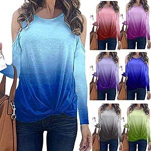 Toasye Explosion Farbverlauf Geknotet Undichte Schulter Rundhals Knopfleiste Frauen Langarm O-Neck Multicolor Geknotete T-Shirt Bluse Tops