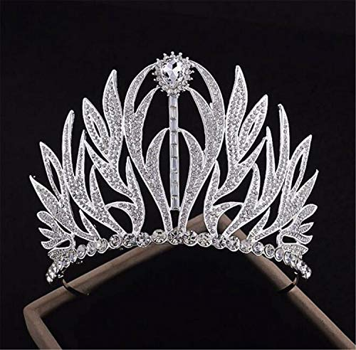 Braut Tiara, Krone Silber für Hochzeit Erwachsene Royal Pageant Party Stirnband Prinzessin Crystal Bridal Headpiece Zubehör