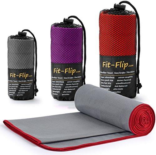 Fit-Flip Grau mit roten Rand, 1x 140x70cm   microfaser handtücher Badetuch microfaser handtücher Backpacking microfaser handtücher blau