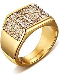 UM Joyería Acero inoxidable CZ Diamante imitación Hombres De sello anillos Oro Chapado ...