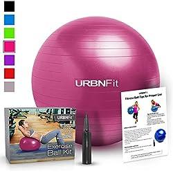 Balón de Ejercicio (de varios tamaños) para mejorar la forma física, estabilidad, equilibrio y para practicar Yoga. Pelota Suiza Con guía de ejercicios y bomba rápida incluidas. Diseño de calidad profesional anti reventones, 55cm, Rosado