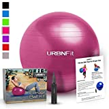 URBNFit Exercise Ball (55 Cm) For Stability & Yoga - Workout Guide Incuded (Pink)