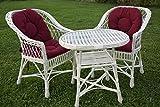 123home24.com Eine Reihe von polnischen Korbmöbel: 2 Sessel + Tisch + Kissen