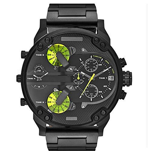 QSXF Herren Quarzuhr Edelstahlarmband Großes Zifferblatt 55mm Casual Fashion Outdoor Persönlichkeit Uhr, G