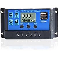 Tellunow Regulador Solar del Cargador del PWM 20A regulador Solar de la batería del Panel Solar con la exhibición del Puerto del USB 12V / 24V (KLD)