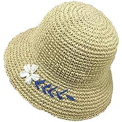 QJXSAN Sombrero de Ganchillo Hecho a Mano Margarita pequeña Flores Bordado Verano Plegable Protector Solar Protector Solar Juego al Aire Libre (Color : C)