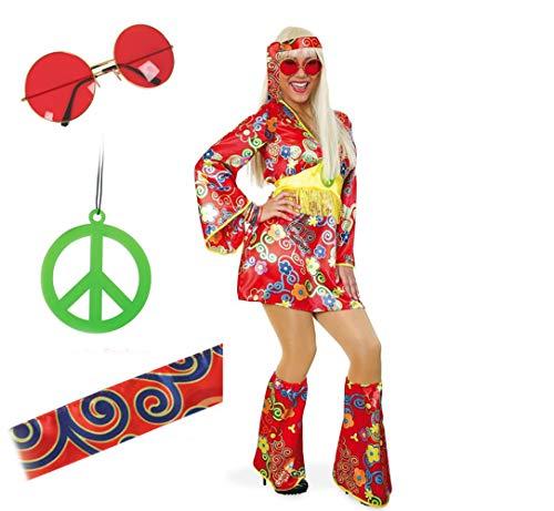 KarnevalsTeufel Hippie Set Hippie-Kleid 60er Jahre Damenkostüm Brille Haarband Peace-Kette ()