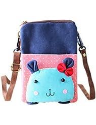 Cartoon Canvas Phone Package Version coréenne de Lovely Girl Cloth Bag Blue Rabbit