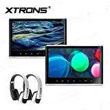 "XTRONS 11,6"" Auto DVD Player untestützt FHD 1920 * 1080 Pixel Headrest mit HDMI Port DVD Player tragbar IPS Bildschirm mit 178°Blickswinkel (HD116HD_Silverx2+DWH006x2)"