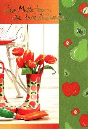 Muttertagskarte Tulpen im Gummistiefel