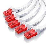 CSL – 5 x 0,5m - Cat 6 Netzwerkkabel Flach | Gigabit Ethernet LAN | RJ45 Kabel/Flachbandkabel / Verlegekabel | 10/100/1000 Mbit/s | Patchkabel/Flachkabel | Kompatibel zu Cat.5 / Cat.5e / Cat.6 | weiß