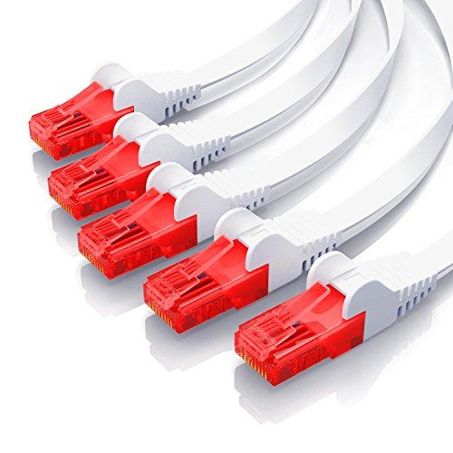CSL – 5 x 0,5m - Cat 6 Netzwerkkabel Flach | Gigabit Ethernet LAN | RJ45 Kabel/Flachbandkabel/Verlegekabel | 10/100/1000 Mbit/s | Patchkabel/Flachkabel | Kompatibel zu Cat.5 / Cat.5e / Cat.6 | weiß