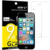 Pack de 2 Verre Trempé iPhone 5 5S SE 5C, NEWC® Film Protection en Verre trempé écran Protecteur - ANTI RAYURES - SANS BULLES D'AIR -Ultra Résistant Dureté 9H Glass Screen Protector pour iPhone 5 / 5S / 5C / SE