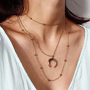 XUHAHAXL Halskette/Sexy V Halskette Mit Einfachen Multilayer Antik Kupfer Perlenkette Halskette Halskette